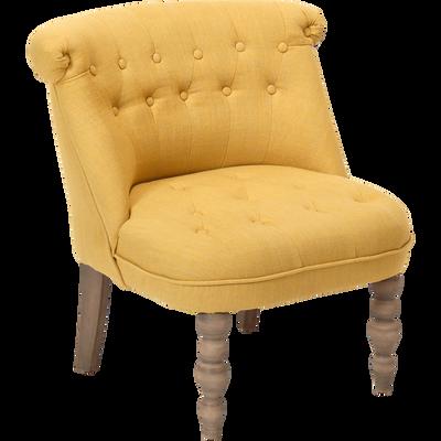 Fauteuil en tissu jaune-CHANTELOUP