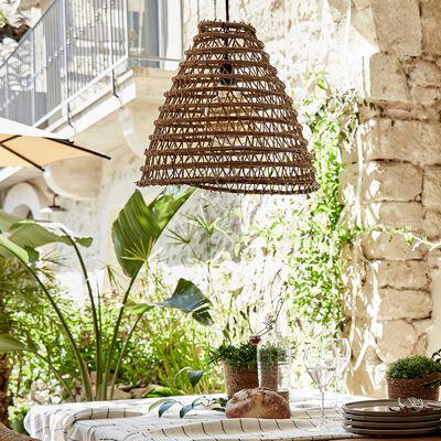 Suspension extérieure/lampe à poser en fibre de palmier D40xH40cm-ORIA