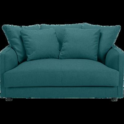 Canapé 2 places convertible en tissu bleu niolon-LENITA