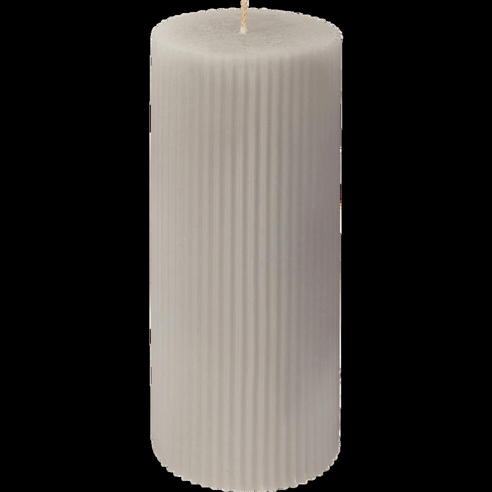 Bougie cylindrique striée gris H15 cm-STRIATA