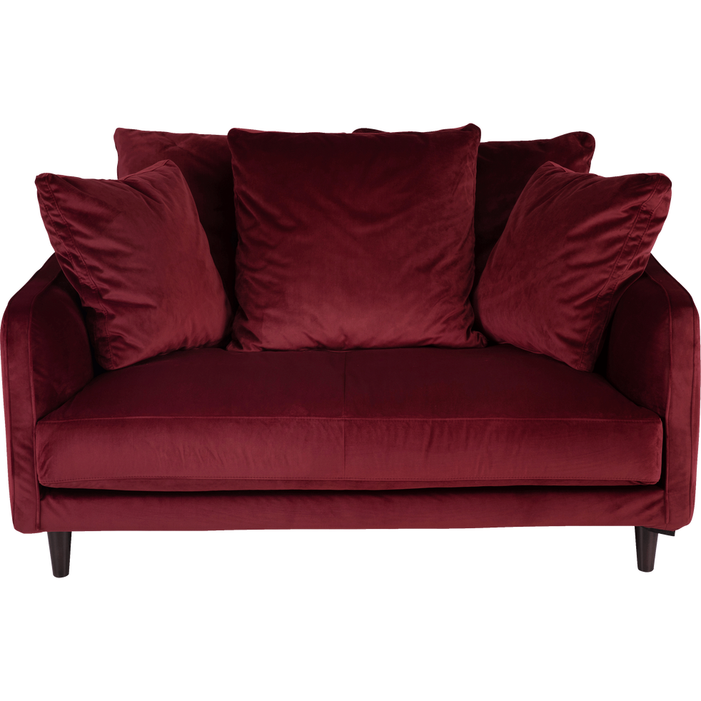 canap 2 places convertible en velours rouge sumac lenita canap s en tissu alinea. Black Bedroom Furniture Sets. Home Design Ideas