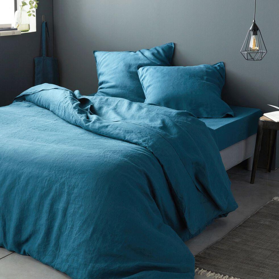Linge de lit en lin bleu figuerolles-VENCE