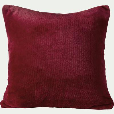 Housse de coussin effet polaire en polyester - rouge sumac 40x40cm-ROBIN