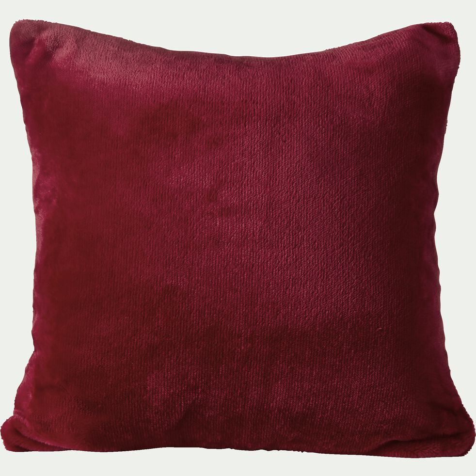 Housse de coussin effet polaire - rouge sumac 40x40cm-ROBIN