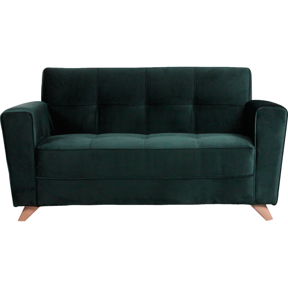 canap 2 places fixe en velours vert fonc vicky. Black Bedroom Furniture Sets. Home Design Ideas