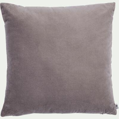 Coussin en velours de coton - gris restanque 45x45cm-EDEN