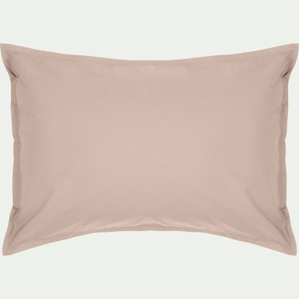 Lot de 2 taies d'oreiller en percale de coton - rose argile 50x70cm-FLORE