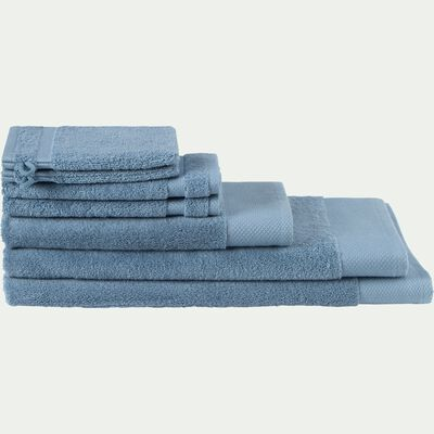 Lot de 2 serviettes invité en coton peigné - bleu autan 30x50cm-Azur