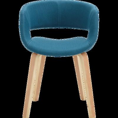 Chaise en tissu bleu avec accoudoirs-JOYAU