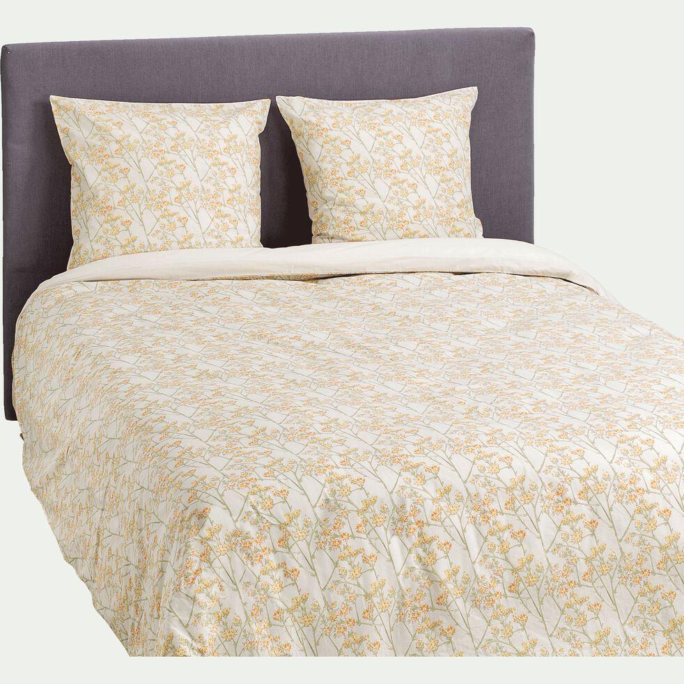 Housse de couette en coton 240x220cm et 2 taies d'oreiller avec motif floral jaune-FLEURI