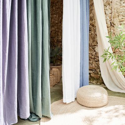 Rideau à oeillets en coton vert olivier 140x250cm-CALANQUES