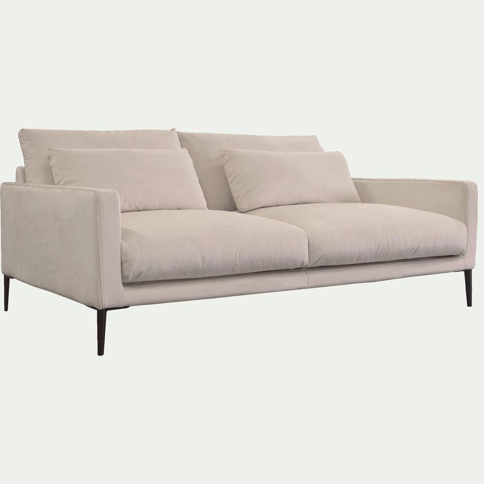 Canapé 3 places en velours - beige roucas-SOZY