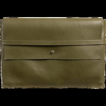 Porte-document en cuir vert H24x35cm-EUGENIE