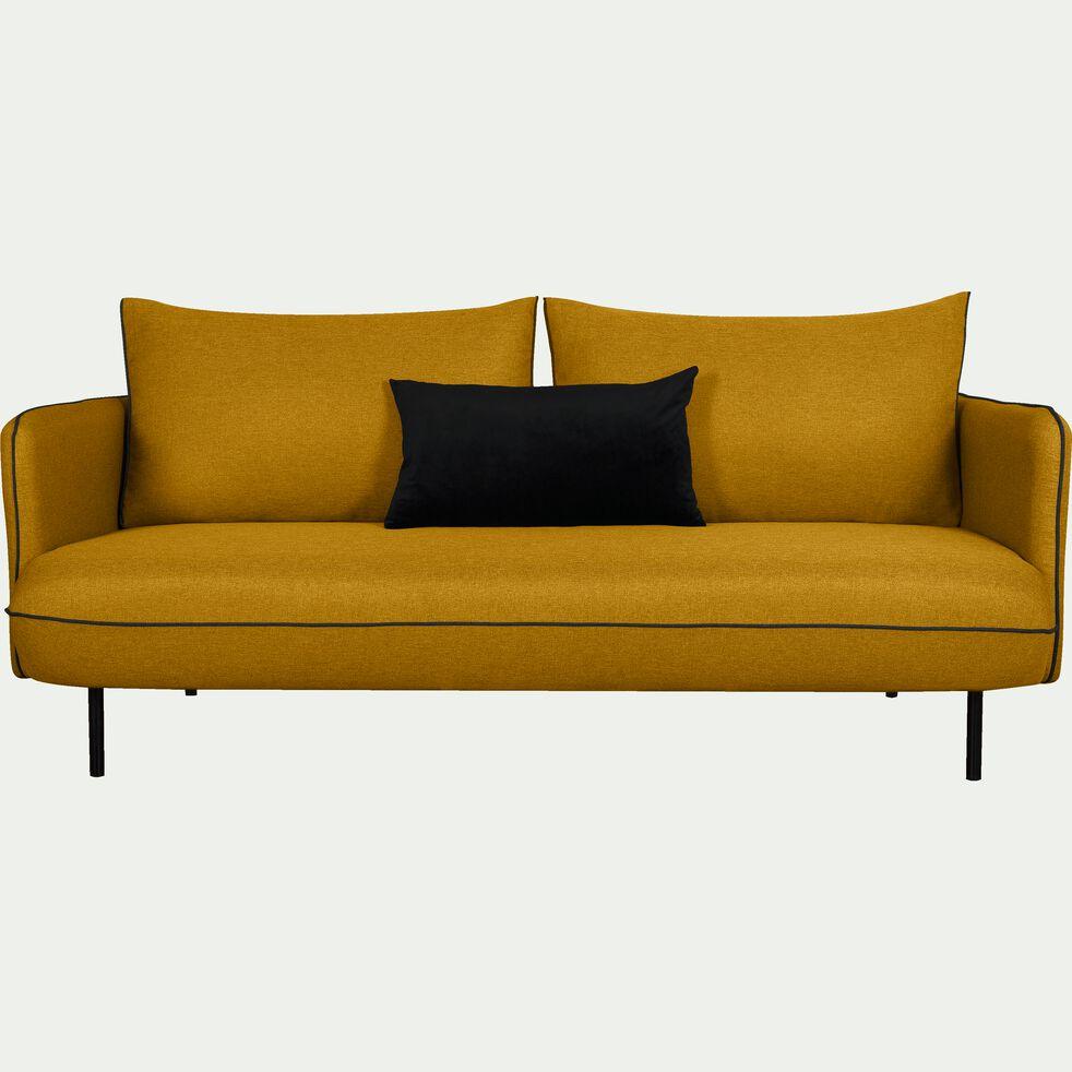 Canapé 3 places fixe en tissu - jaune nèfle-SAOU