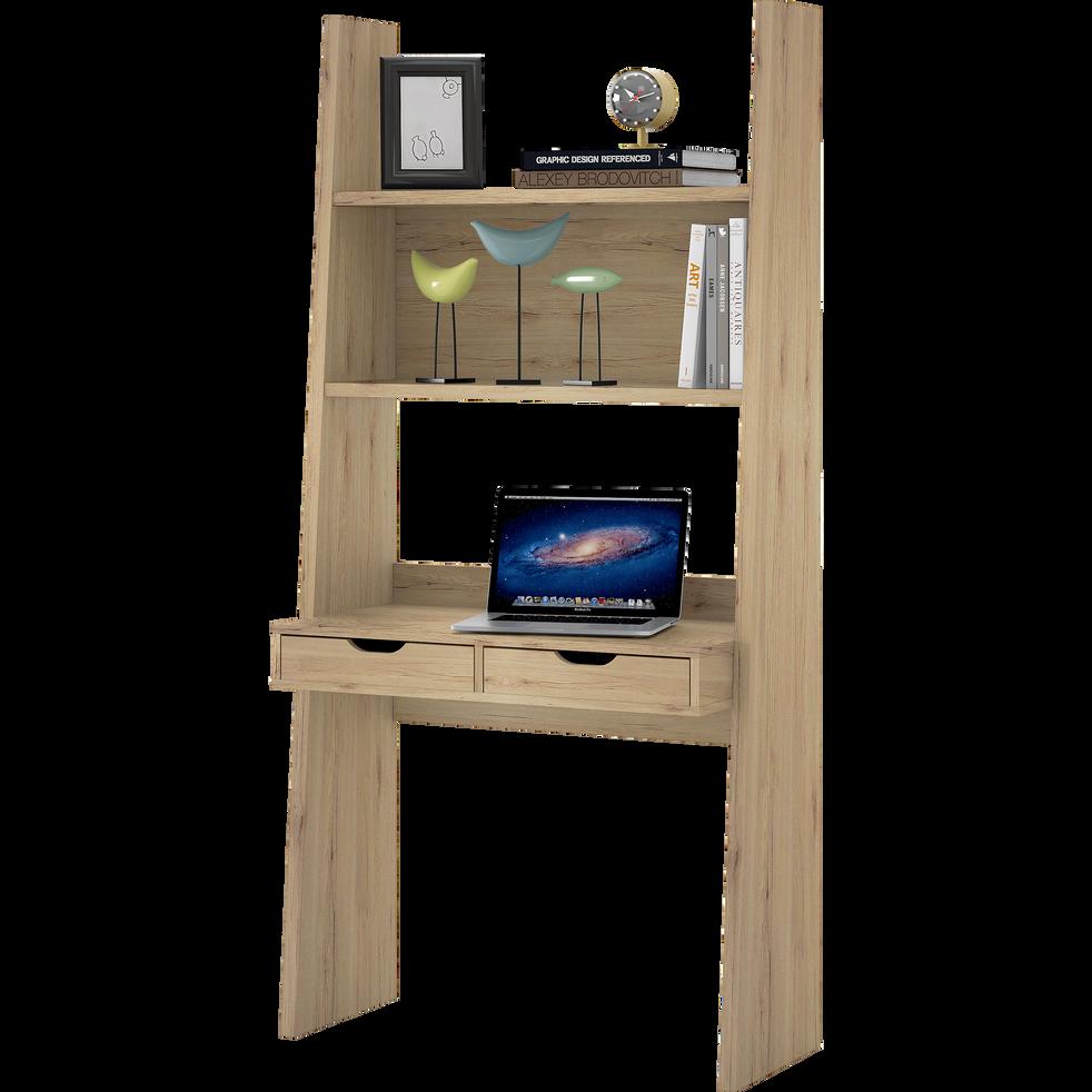 Bureau étagère coloris chêne à 2 tiroirs-YOLO