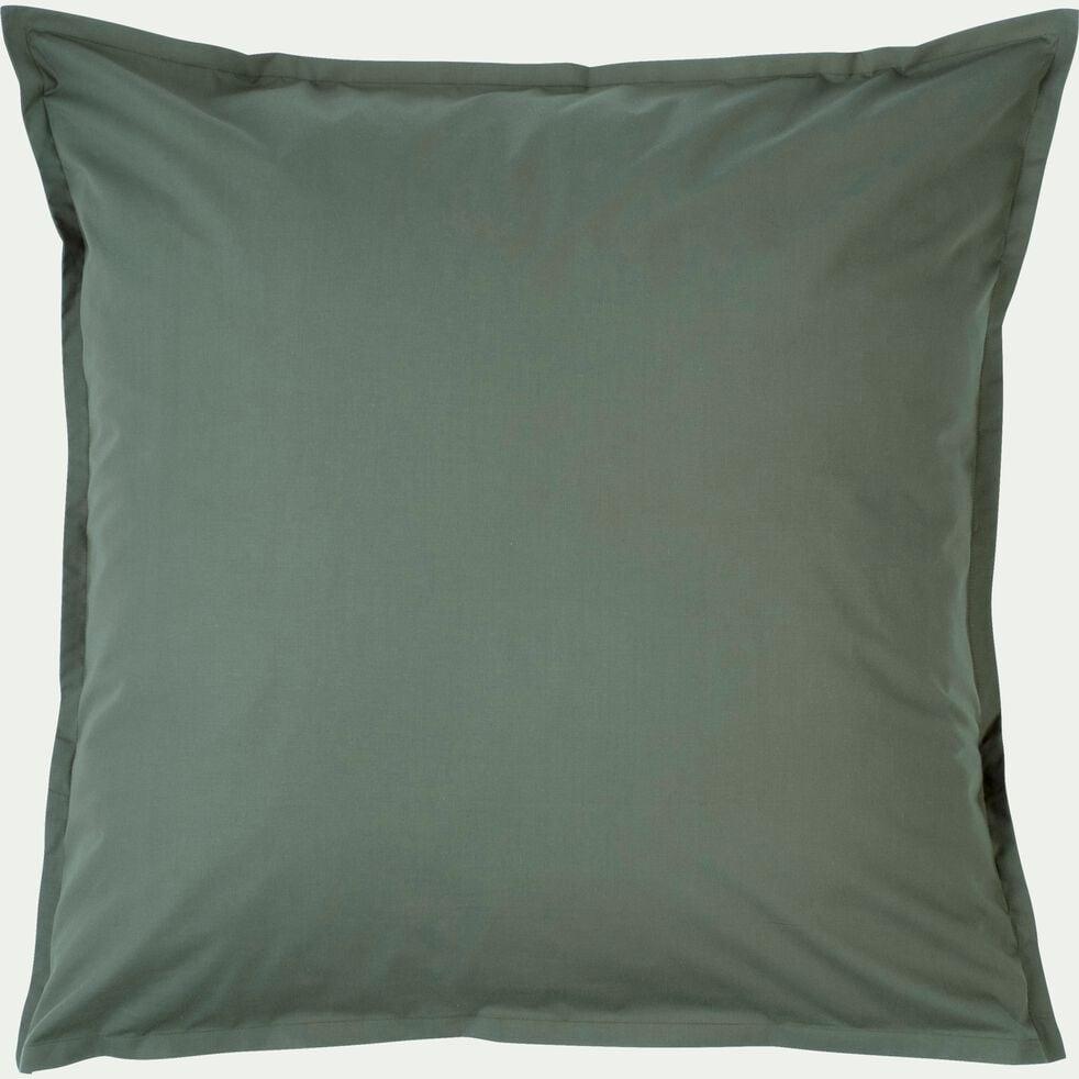 Lot de 2 taies d'oreiller en percale de coton - vert cèdre 65x65cm-FLORE