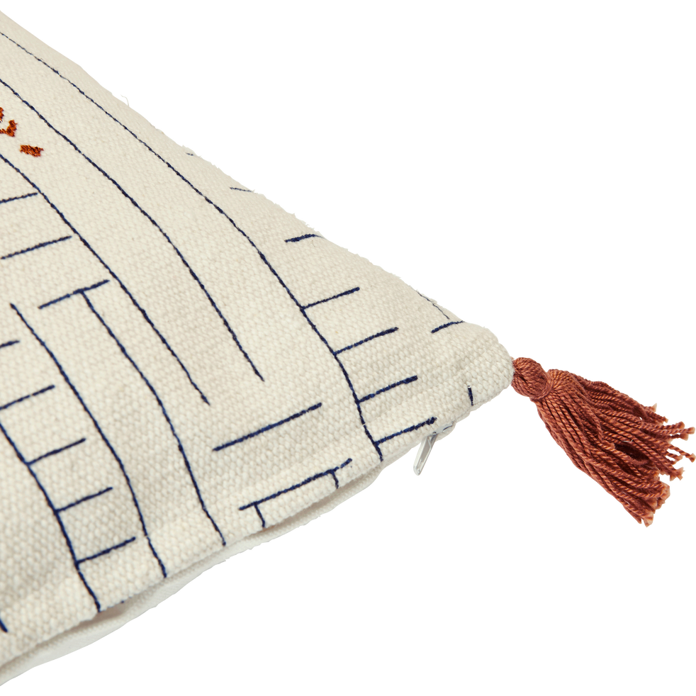 Coussin en coton Blanc à motifs et pompons 40x40 cm-SOUK