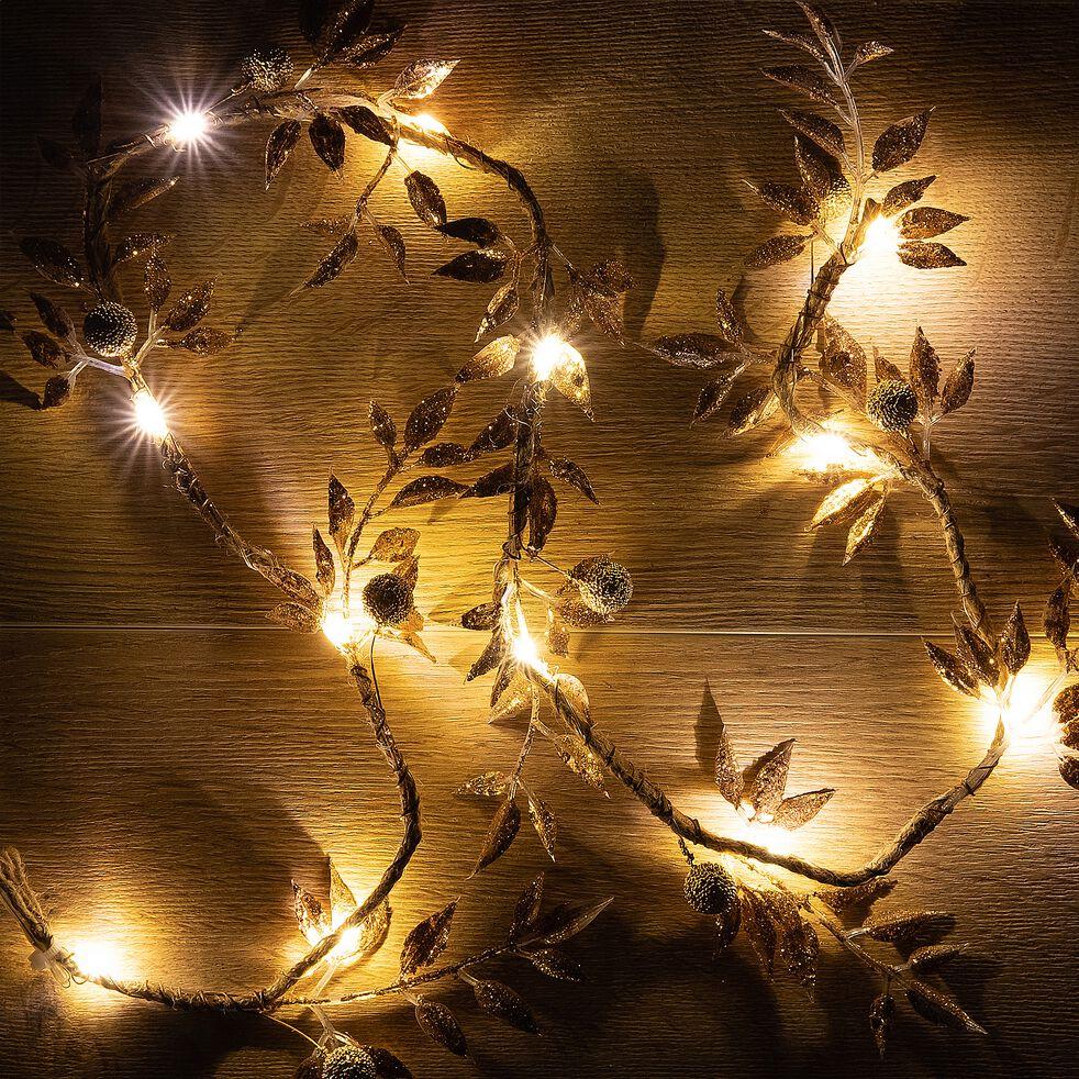 Guirlande lumineuse électrique feuilles en plastique - L100cm jaune-PALLARUELO