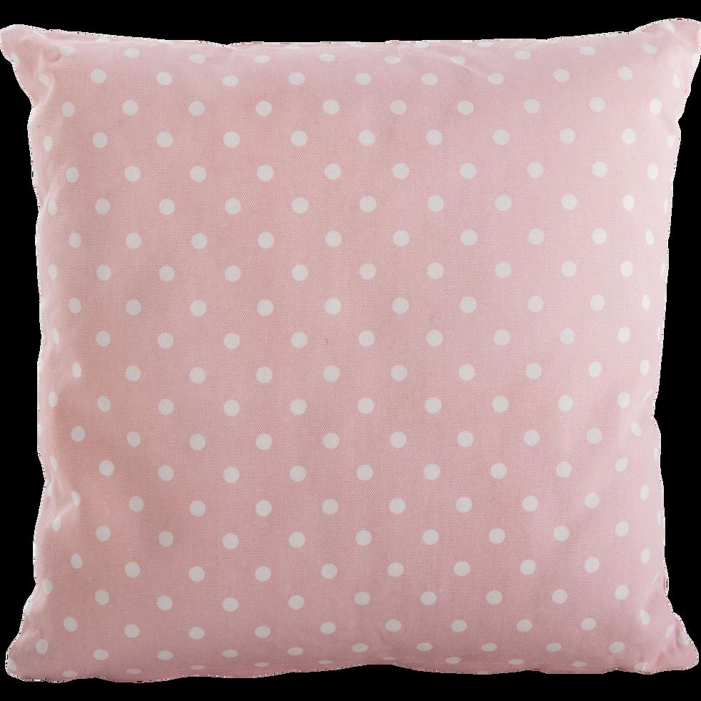 Coussin carré 40x40cm rose à pois blanc pour enfant-ENORA