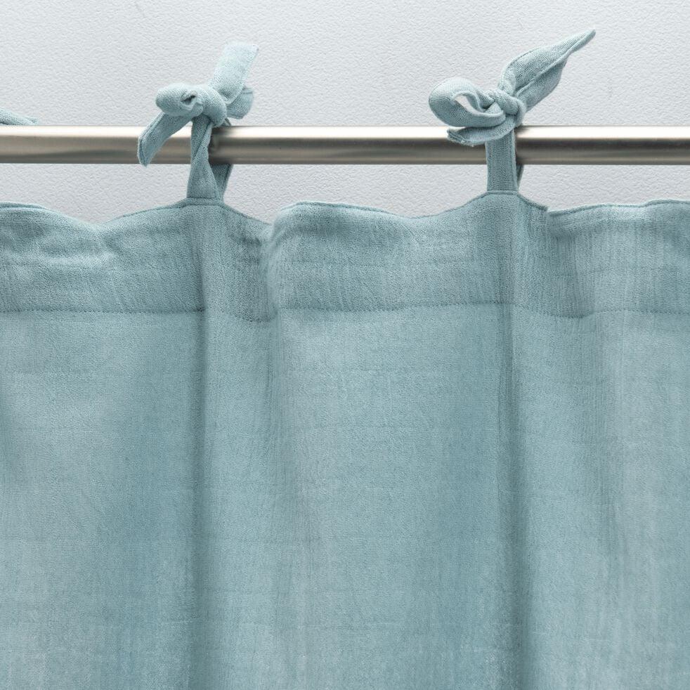 Rideau à nouettes en gaze de coton 140x250cm - bleu calaluna-Nuage