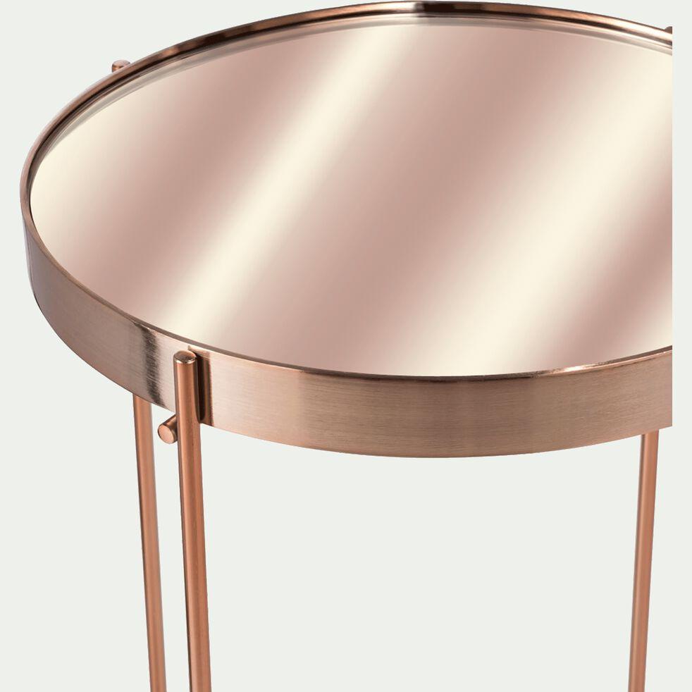 Bout de canapé en métal cuivré avec plateau miroir-LIVA