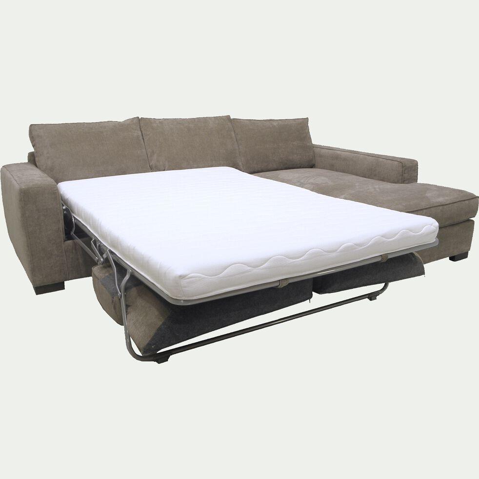 Canapé d'angle droit convertible en tissu argile-CALIFORNIA
