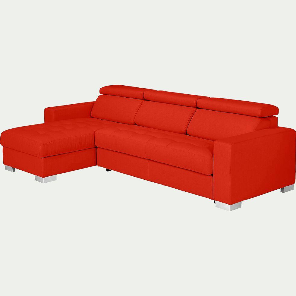 Canapé d'angle convertible en tissu - rouge-Mauro