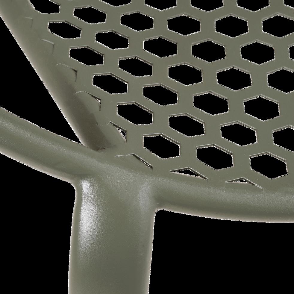 Fauteuil de jardin empilable en acier vert cèdre-CLEMENCE