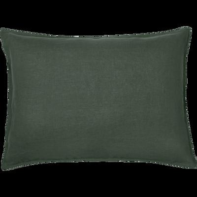 Lot de 2 taies d'oreiller en lin Vert cèdre 50x70cm-VENCE