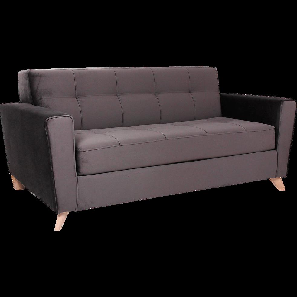 Canapé 3 places fixe en velours gris foncé-VICKY
