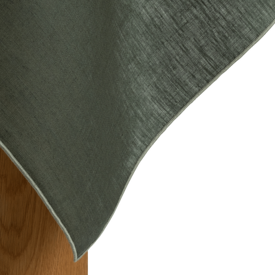 Nappe en lin et coton vert cèdre 170x170cm-MILA