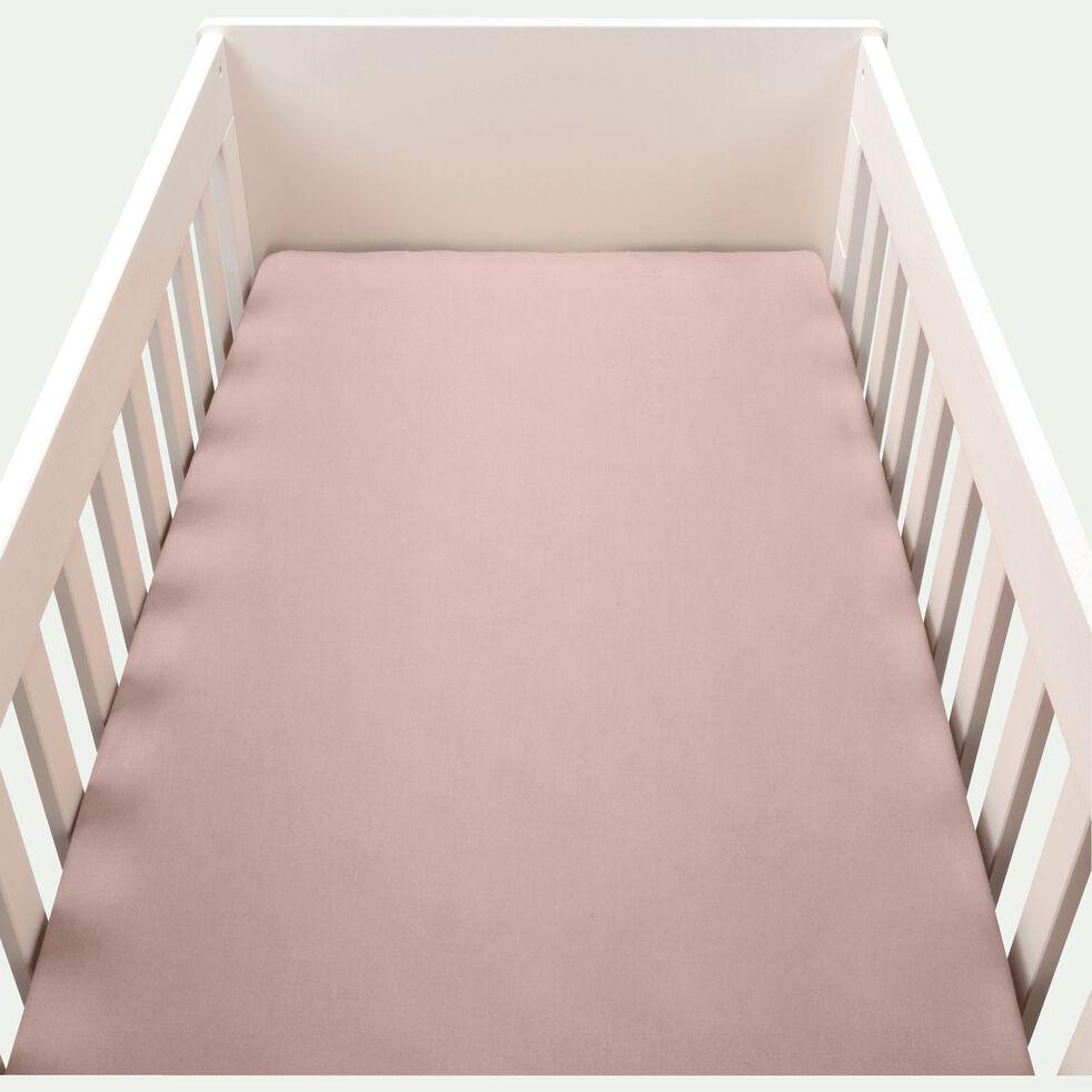 Drap housse bébé en coton bio 60x120+B15cm - rose rosa-Calanques