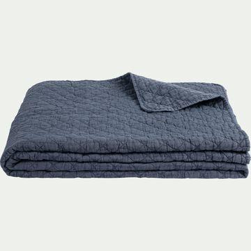 Couvre-lit effet lavé - bleu figuerolles 230x250cm-THYM