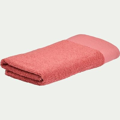 Serviette de bain en coton peigné - rouge ricin 50x100cm-AZUR