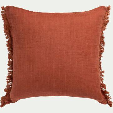 Coussin carré en tissu - 45x45cm rouge ricin-SIGNIA