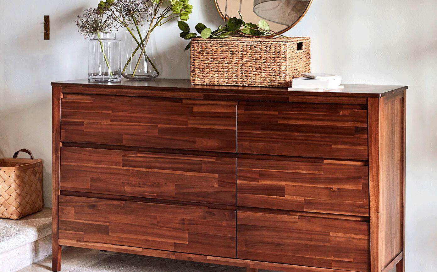 Commode 2x3 tiroirs en acacia massif-THAO
