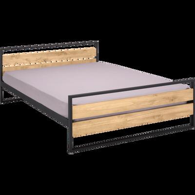 Lit 2 places bois et métal avec tête et pieds de lit - 160x200 cm-ENDOUME