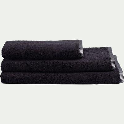 Serviette de bain brodé en coton - noir 50x100cm-Romane