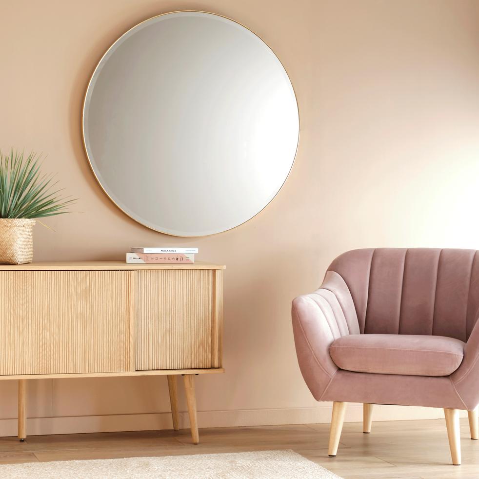 Miroir rond avec pourtour en métal doré D1 m-ROUND