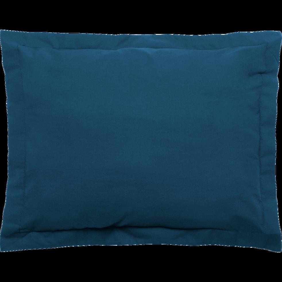 Taie d'oreiller en percale coton lavé 35x45cm bleu figuerolles-PALOMA