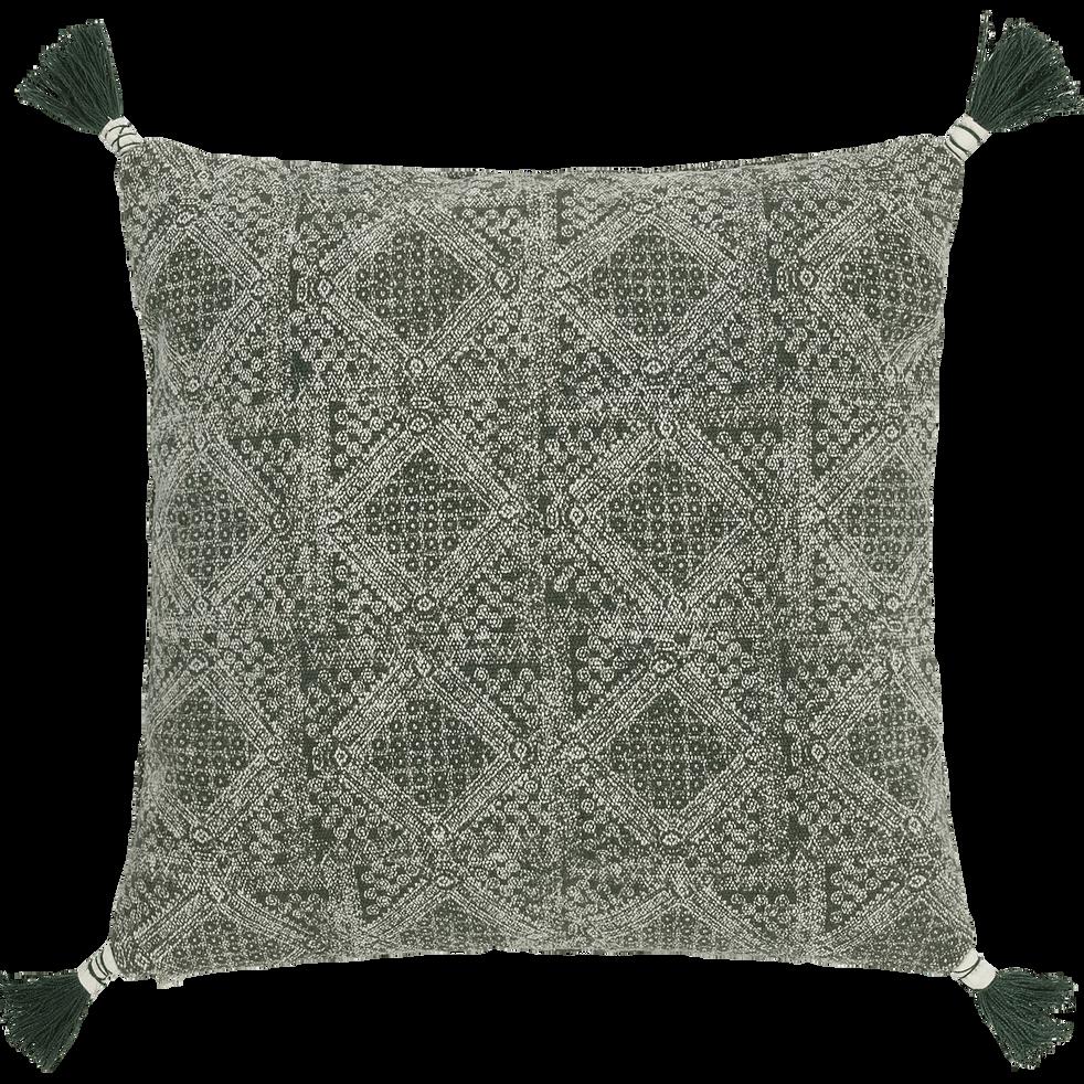 Coussin à pompons en coton vert cèdre 40x40cm-BATIK