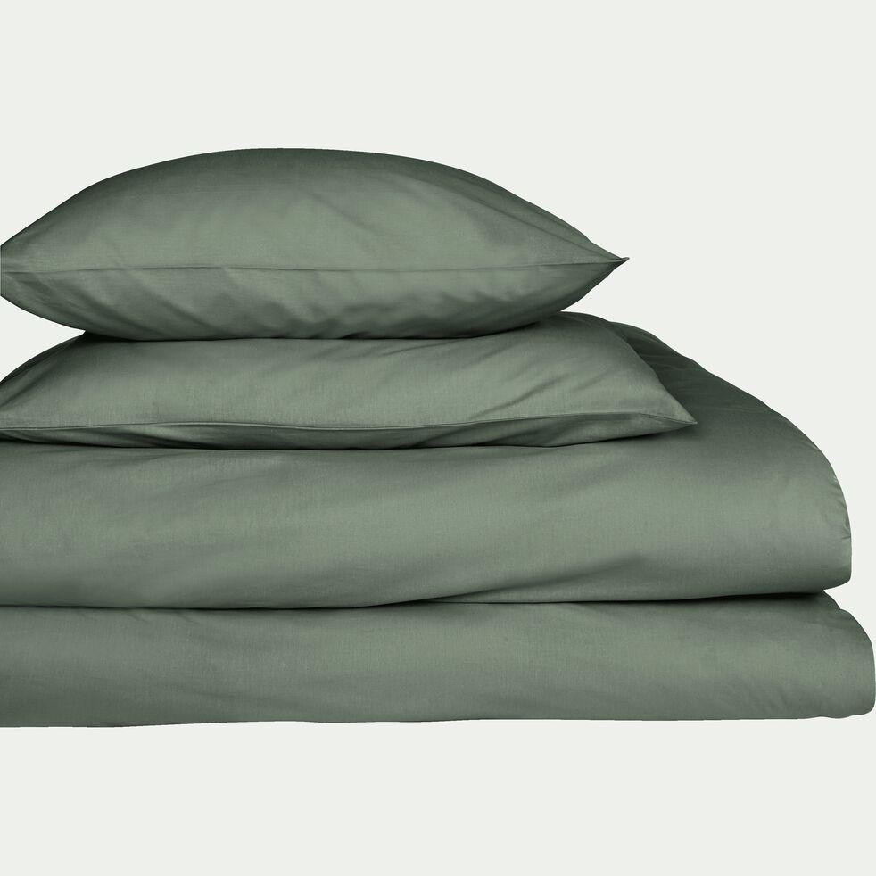Drap housse en coton - vert cèdre 160x200cm B30cm-CALANQUES
