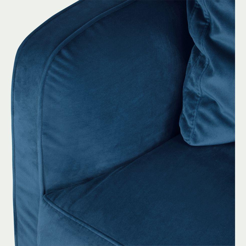 Canapé 2 places convertible en velours - bleu figuerolles-LENITA