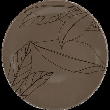 Assiette à dessert en grès brun châtaignier décoré D21cm-LAURIER