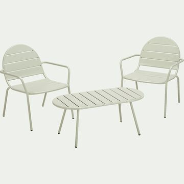 Salon de jardin en acier (2 places) - vert olivier