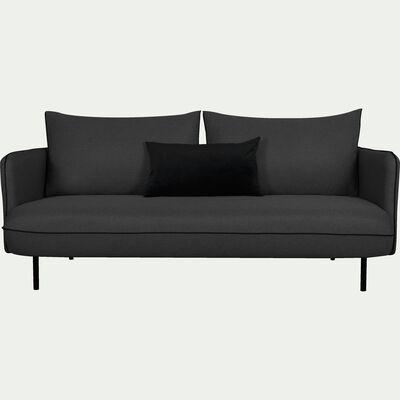 Canapé 3 places fixe en tissu gris calabrun-SAOU