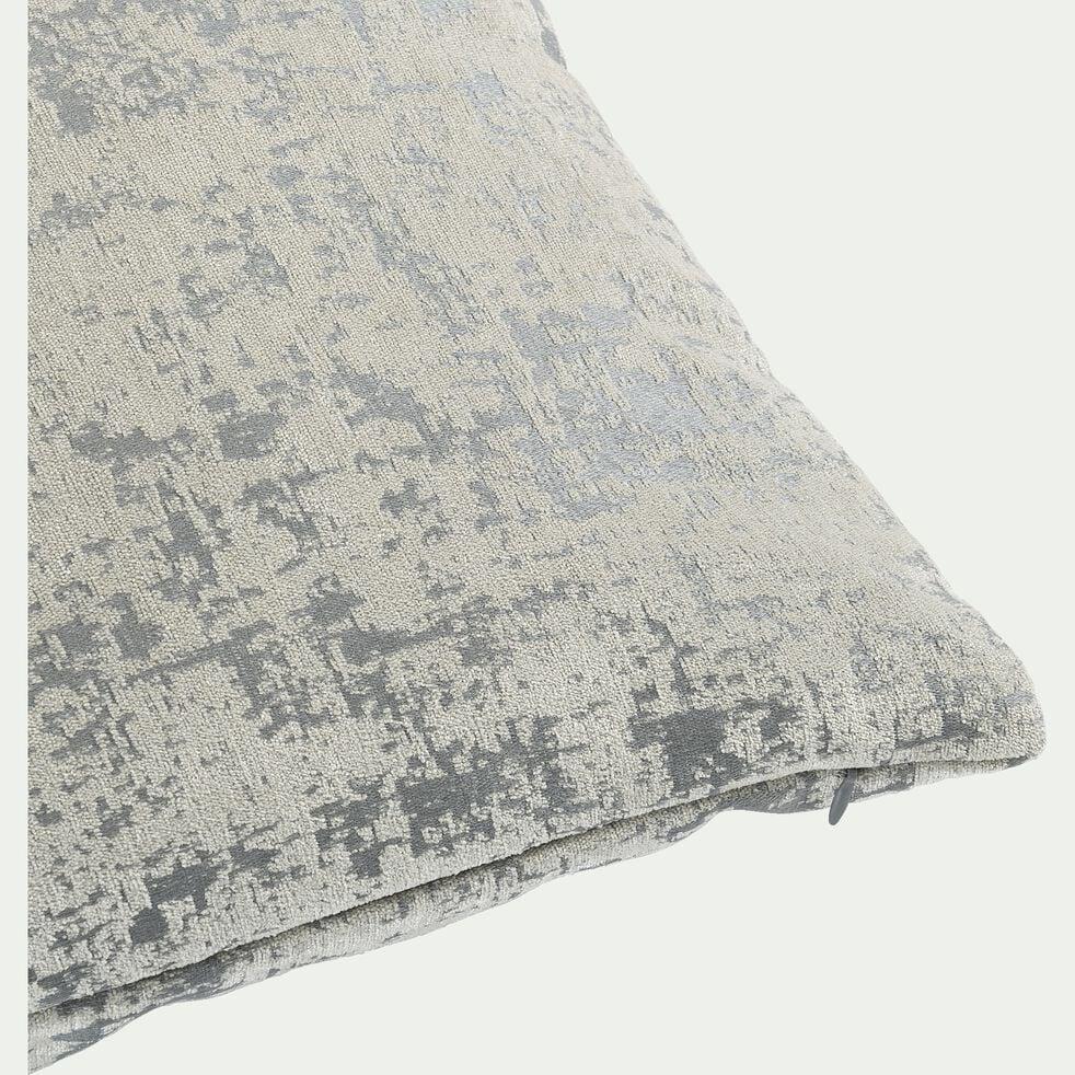 Coussin en velours dévoré - gris 45x45cm-CHI