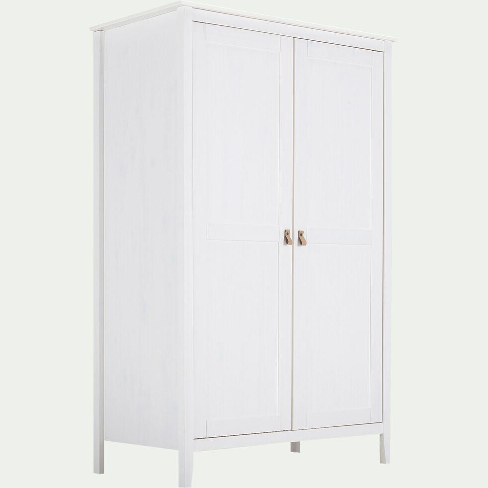 Armoire en bois 2 portes - L110xl60xH180cm blanc-LISA