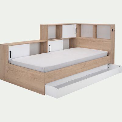 Lit simple avec rangements 90x200cm - bois clair-DONACIAN