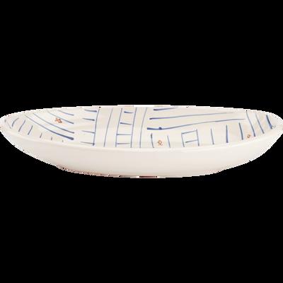 Plat ovale en terre cuite émaillée blanc 29cm-SOUK